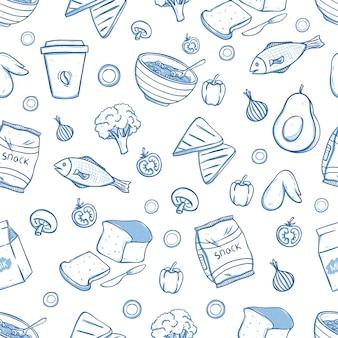 Smakelijk ontbijt eten in naadloze patroon met doodle stijl