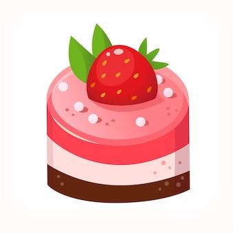 Smakelijk rond gelaagd cakedessert met chocoladekoekje en aardbeibovenste laagje geïsoleerde vectorpictogram