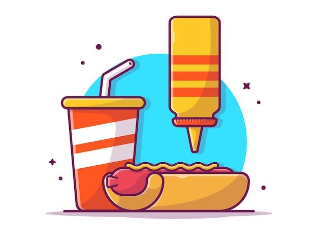 Smakelijke combo menu hotdog met mosterd en soda, geïsoleerd illustratiewit