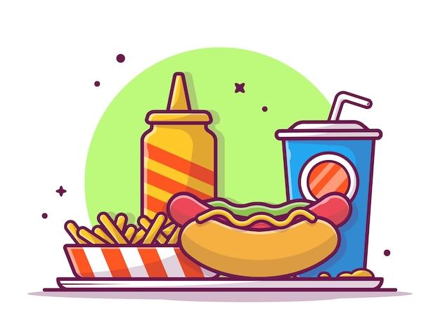 Smakelijke combo menu hotdog met mosterd, frieten en soda, geïsoleerde illustratie