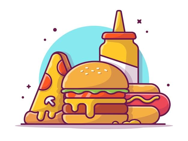 Smakelijke combo menu hotdog met mosterd, pizza en hamburger, geïsoleerd illustratiewit