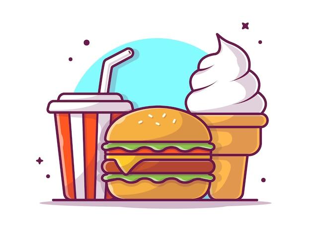 Smakelijke combo-menukaashamburger met soda en roomijs, geïsoleerd illustratiewit