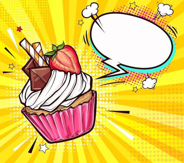 Smakelijke cupcake versierd halve aardbei