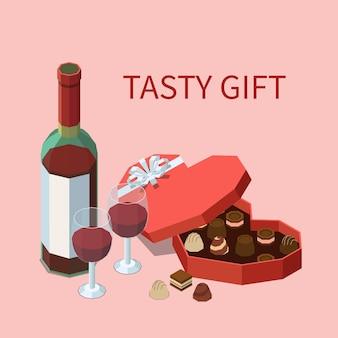 Smakelijke geschenkillustratie met chocolaatjes en wijn