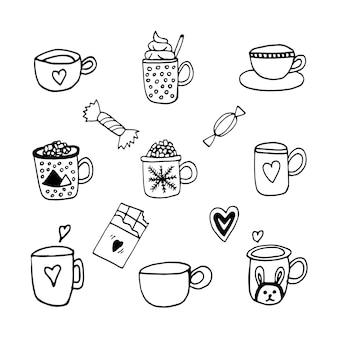 Smakelijke hand dageraad vector set met koffie cacao warme drank en snoep doodle set