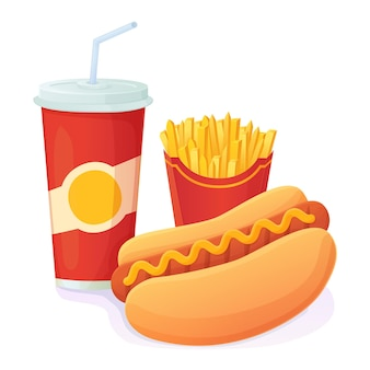 Smakelijke heldere hotdog met frisdrank en frietjescombinatie