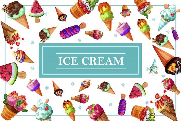 Smakelijke ijssamenstelling met verse ijscoupe en ijsjes met chocoladetaartjes vanille, sinaasappel, watermeloen, kers, framboos, kruisbes en aroma's
