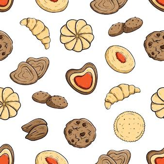 Smakelijke koekjes in naadloos patroon
