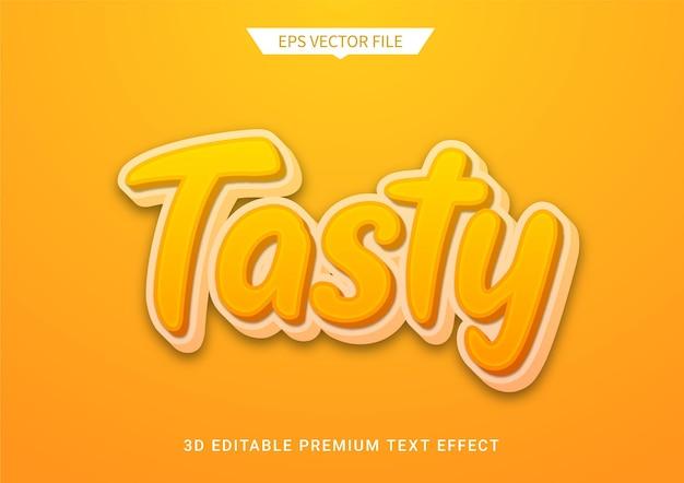 Smakelijke oranje 3d bewerkbare tekststijl effect premium vector