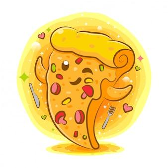 Smakelijke pizza kawaii stripfiguur
