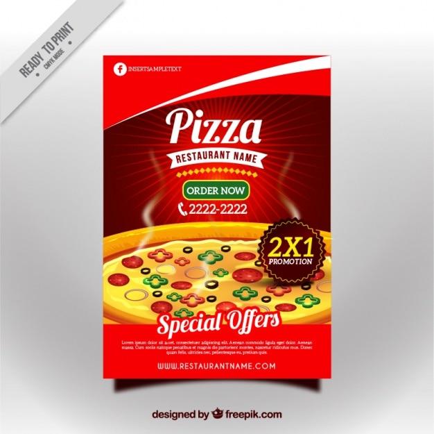 Smakelijke pizza korting brochure