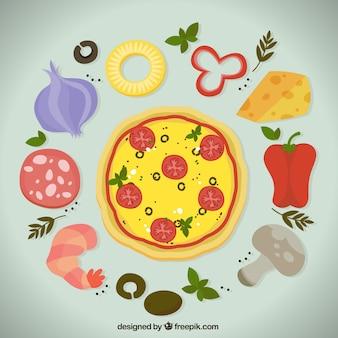 Smakelijke pizza met ingrediënten