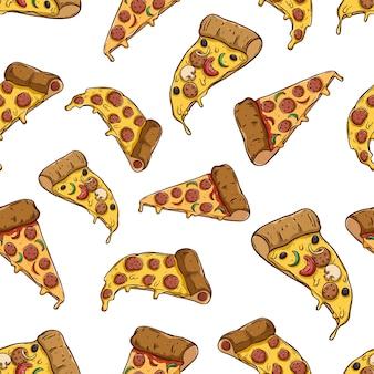 Smakelijke pizzaplak in naadloos patroon met gekleurde hand getrokken stijl
