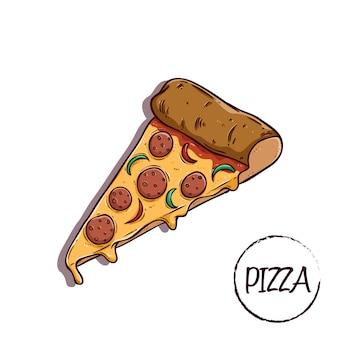 Smakelijke plak pizza met kaas met behulp van gekleurd