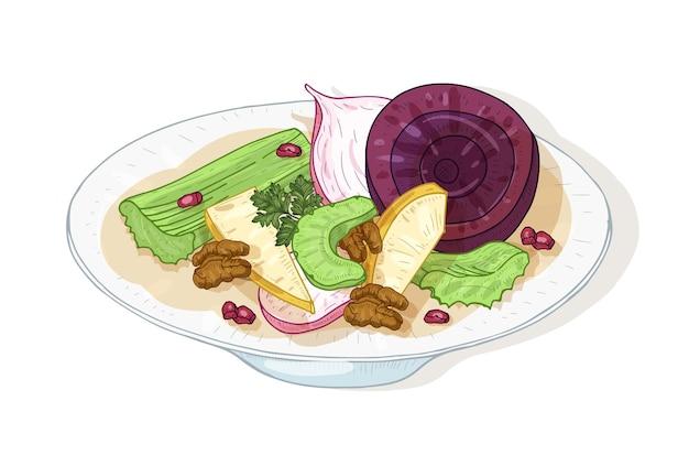 Smakelijke verse salade met groenten en noten op plaat op wit wordt geïsoleerd