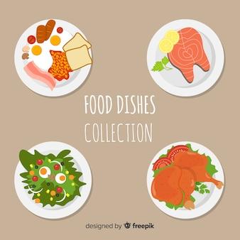Smakelijke verzameling voedselschotels