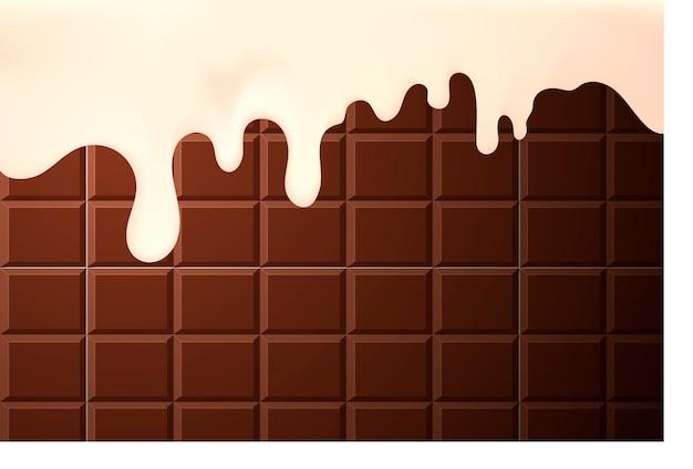 Smakelijke vloeiende room aan de zijkanten van een chocoladetaart achtergrond