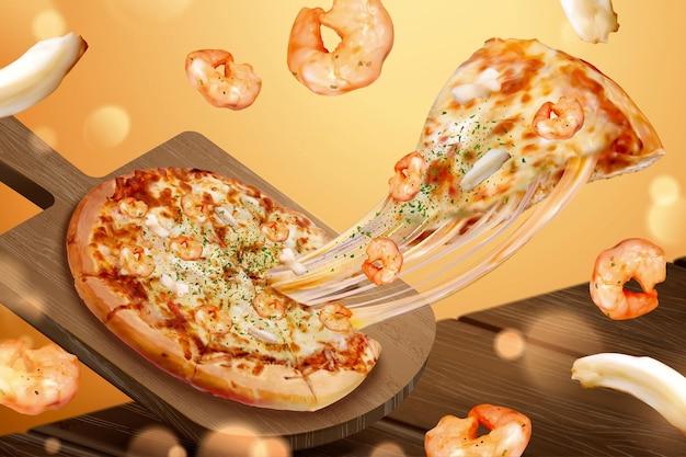 Smakelijke zeevruchtenpizza-advertenties met vezelige kaas in 3d illustratie, ingrediënten voor garnalen en inktvisringen