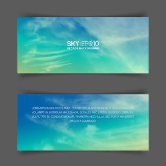 Smalle horizontale banners met realistische turkoois-gele lucht en spindriftwolken