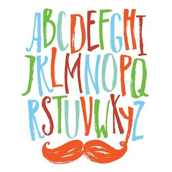 Smalle lettertype gekleurde set