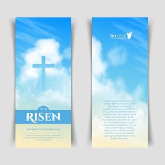 Smalle verticale vectorbanners. christelijk religieus ontwerp voor de viering van pasen.