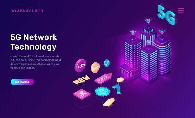 Smart city, 5g draadloos netwerktechnologieconcept