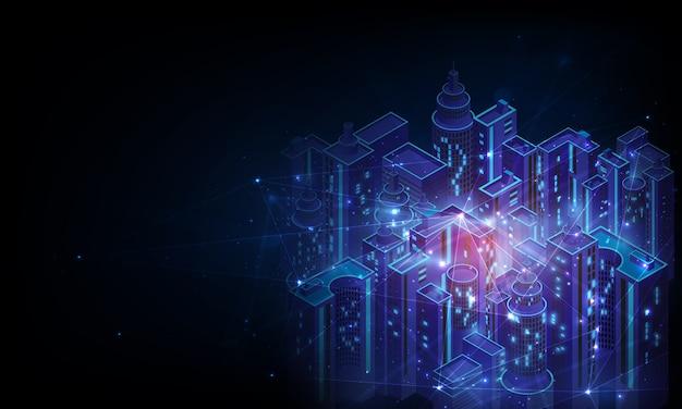 Smart city en draadloos communicatienetwerk, draadloos netwerk en smart city-concept.
