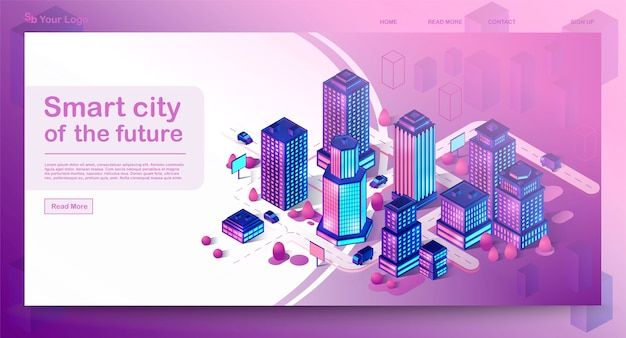 Smart city isometrische architectuur concept bestemmingspagina. neon moderne gebouwen. futuristische stad. 3d-infographics. intelligente gebouwen met borden.