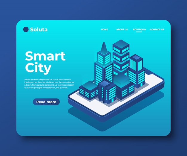 Smart city of intelligent gebouw isometrische banner voor bestemmingspagina