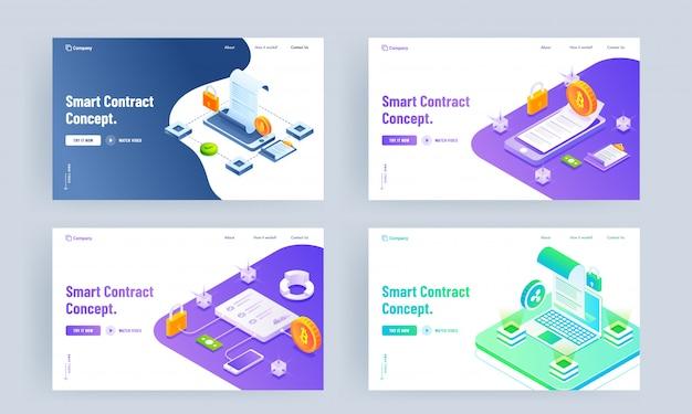 Smart contract-conceptgebaseerde bestemmingspagina met laptop, smartphone en cryptocurrency-set.
