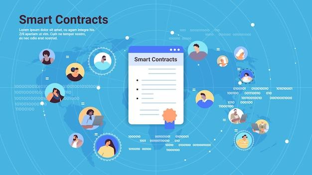 Smart contracts proces van digitale veilige transactie met behulp van smart contract blockchain-technologie