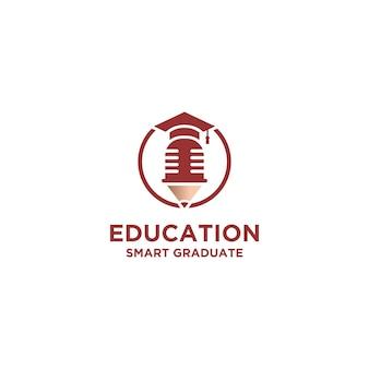 Smart education met hoed-logo-ontwerp