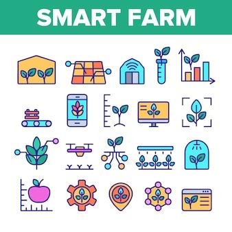 Smart farm elementen icons set