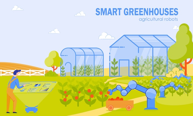 Smart greenhouses agricultural robots cartoon.