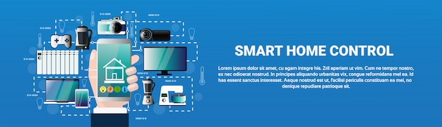 Smart home control system hand hold smartphone applicatie devices automation concept modern