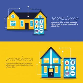 Smart home in vlakke stijl