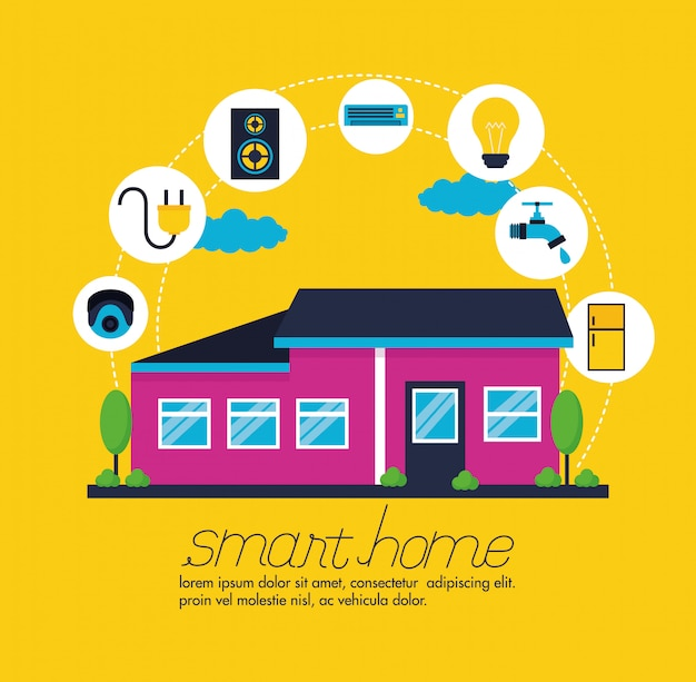 Smart home in vlakke stijl