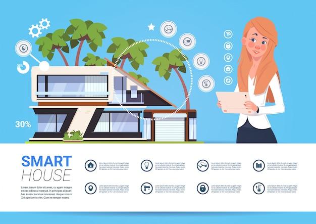 Smart home management concept met vrouw met tablet-apparaat