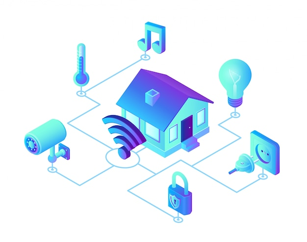 Smart home-systeem. 3d isometrisch extern huiscontrolesysteem. iot-concept.