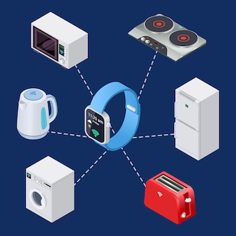 Smart home-systeem met slimme klok en huisapparatuur ingesteld