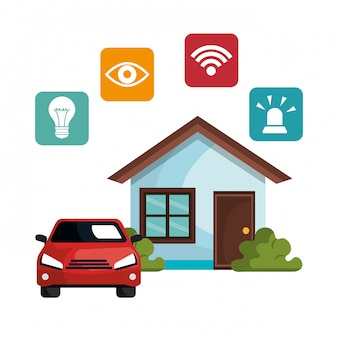 Smart home technologie ingesteld pictogram