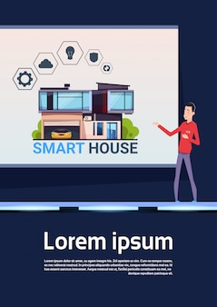 Smart home technology presentatie asian man explain new system on house control and innovation