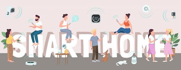 Smart home woord concepten kleur. typografie met kleine stripfiguren. internet of things, technologieën voor huisautomatisering. intelligente huishoudelijke apparaten creatieve illustratie