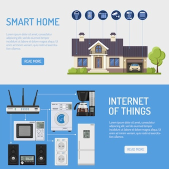 Smart house en internet of things illustratie
