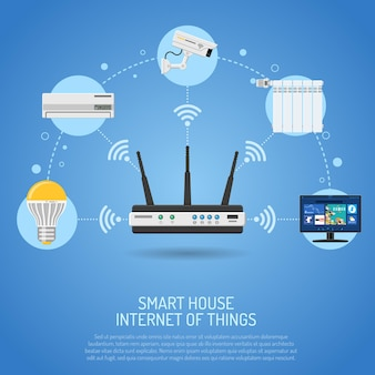 Smart house en internet of things met router bestuurt apparaten via internet