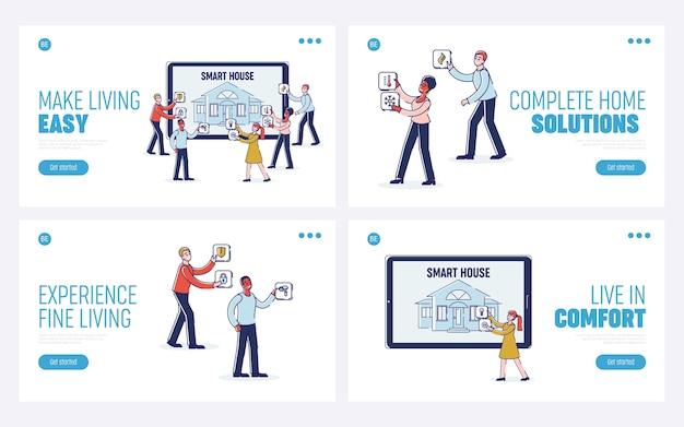 Smart house mensen beheren set intelligence-technologie