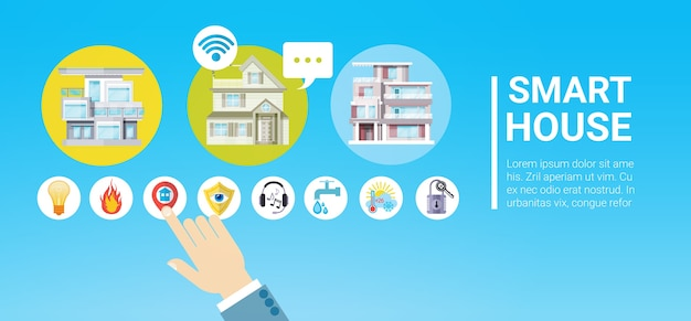 Smart house technology control system pictogram infographic