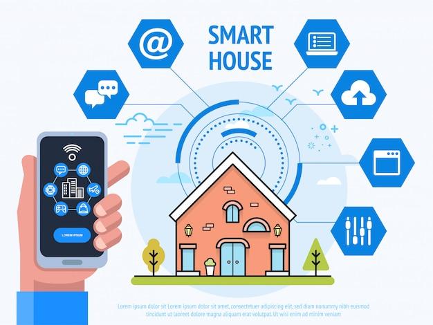 Smart house technology, menselijke hand met smartphone met besturingssysteem-app,