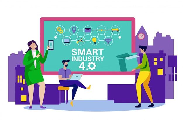 Smart industrial enterprise service system. vector