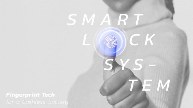 Smart lock systeem sjabloon vector futuristische technologie